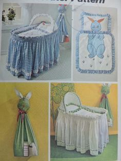 UNCUT Baby Sewing Pattern for Nursery Set Bassinette Skirt & Liner, Comforter, Pillow Case, Diaper Stacker Appliques Simplicity 9751 S Childrens Sewing Patterns, Simplicity Sewing Patterns, Baby Patterns, Vintage Patterns, Vintage Sewing, Bassinet Cover, Baby Bassinet, Baby Nursery Decor, Nursery Themes