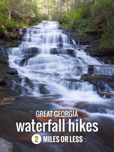 Catch beautiful views of spilling and splashing waterfalls on these easy Georgia beginner hikes, two miles or less (and many kid-friendly, too! Alaska Travel, Travel Usa, Alaska Cruise, Places To Travel, Places To Visit, Travel Destinations, Hiking Supplies, Georgia, Waterfall Trail