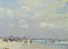 """""""Rockaway Beach,"""" Edward Henry Potthast, ca. 1910, oil on canvas, 12 x 16"""", Debra Force Fine Art."""