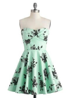 Traveling Cupcake Truck Dress in Mint Roses - Cotton, Mid-length, Mint, Black, Floral, Fit & Flare, Strapless, Sweetheart, Party, Vintage In...