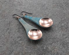 Earrings, Shabby Chic Earrings, Farmhouse, Rustic, Copper and Teal, 1/2 Teaspoon, Mini Bamboo Scoops, Artisan Jewelry by JGarloffDesign on Etsy