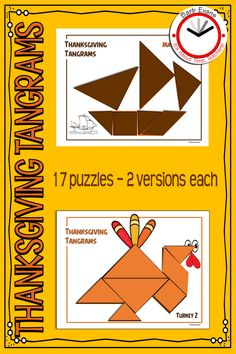 TANGRAMS provide a captivating, hands-on means to develop problem solving, spatial reasoning, Tangram Puzzles, Logic Puzzles, Thanksgiving Pictures, Thanksgiving Activities, Math Activities, Teacher Resources, Second Grade Math, Problem Solving Skills, Young Children