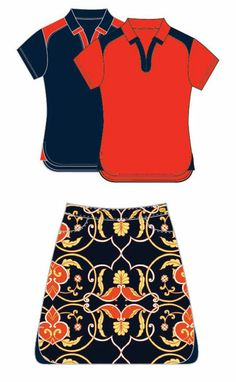 EP Pro Ladies & Plus Size Golf Outfits (Shirt & Skort) – Calabria (Navy Multi / Tangelo Multi) Lori's Golf Shoppe