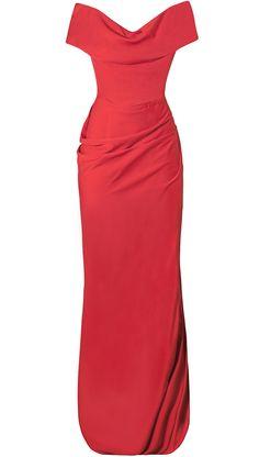 Espectacular vestido largo rojo coral de Vivienne Westwood, cortado a la cintura con corpiño interior, y un escote de lo más favorecedor, es la opción perfecta para grandes fiestas y celebraciones de noche. Escoge los accesorios adecuados, tacón alto, un look beauty intenso y cuidado, y lista para triunfar con un estilismo 10. 24fab.com