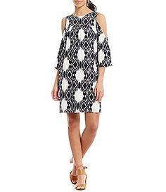 Gibson & Latimer Ikat Print Cold-Shoulder Dress