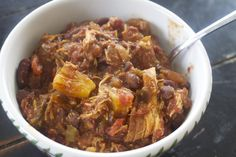 Hawaiian Chicken Chili- chicken, bell peppers, onion, beans, barbeque sauce, tomatoes, pineapple and spices. Delicious!