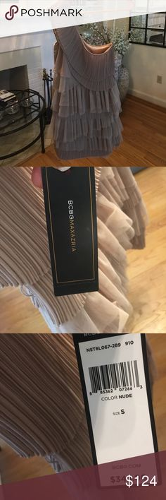 BCBG Mini Nude One Shoulder Dress Small Brand New! BCBG Mini Nude color One Shoulder Dress Small Brand New! Gorgeous for weddings and holds us and super flattering, never ever worn! Original price $348. Feel free to make offers and ask qs!!! BCBGMaxAzria Dresses