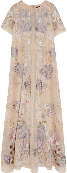 Biyan Gracia Embellished Metallic Lace and Organza Maxi Dress