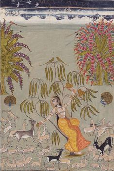 A princess and attendants visit a lingam shrine, India, Oudh, provincial Mughal, late century Pichwai Paintings, Mughal Paintings, Indian Art Paintings, Abstract Paintings, Landscape Paintings, Ancient Indian Art, Indian Folk Art, Art Indien, Mughal Miniature Paintings