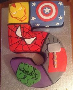 Marvel superheroes birthday cake. Including Thor, Captain America, Hulk, Spiderman and Iron Man. See this Instagram photo by @the_sugar_rose_kitchen