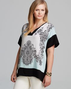 Karen Kane Plus Scarf Print Top | Bloomingdale's. LOVE this print. And the colors, that mint against the black & white, was all over the runways- big trend for spring/summer. This is beautiful with a black maxi skirt, white jeans, regular slacks or even with a pair of jeans.