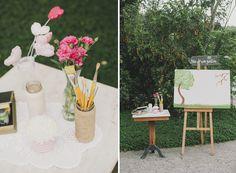 """""""nos de um jardim"""". espaco fofo do casamento e de muita diversao para os convidados pintarem e bordarem!! http://lapisdenoiva.com/home/nos-de-um-jardim"""