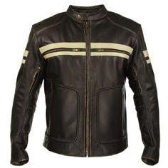Xelement BXU165250 Men's Brown Leather Cruiser Motorcycle Jacket