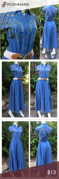 """VTg Western Beaded Chambray Shirt Dress w/Pockets ♥️Fantastic Dress that my sister purchased at an estate sale. It was too large for her so she did some alterations and cut off the sleeves. Looks great w a belt! Full Skirt! No apparent missing beads, love the design on front & back!  ♥️ Approx Measurements laid flat-  (DOUBLE where necessary)  Shoulder to shoulder: 19.5"""" Underarm to underarm: 18"""" Waist: 13""""-16"""" Hips: free Shoulder to Hem: 55""""   (Posh only) Vintage Dresses"""