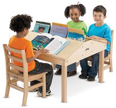 Children's Table, Angled Surface, Built-In Compartment – Natural