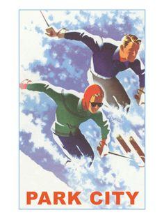 Skiers in Powder, Park City, Utah Premium Poster