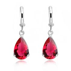 18 ct White Gold Plated Hoop Earrings with Ruby Red Zirconia Austrian Crystals Teardrops