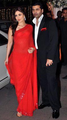 Kareena Kapoor and Karan Johar at Rohit Shetty's sisters reception.