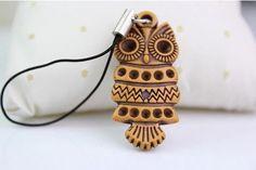 Criativo retro falso de madeira coruja chaveiro chaveiro cadeia de telefone chaveiro pingente pequenos animais pequenos presentes pequena jóia por atacado