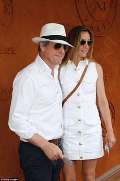 Hugh Grant, and wife Anna Eberstein, attend the French Open Hugh Grant Wife, French Open, British Actors, Anna, Celebrity, Couples, How To Wear, Fashion, Roland Garros