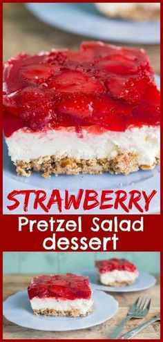 <This strawberry pretzel salad (or strawberry pretzel dessert) is a retro party f. This strawberry pretzel salad (or strawberry pretzel dessert) is a retro party favourite! Make this for your next party, your guests will love it! Oreo Dessert, Dessert Dips, Dessert Party, Jello Pretzel Desserts, Bon Dessert, Easy Desserts, Dessert For Bbq, Fruit Party, Recipe For Jello Pretzel Salad