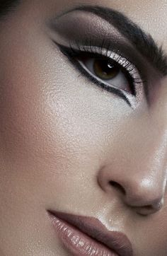 By Megan Martinez nude lips and cheeks, dewy face, highlighted cheekbones cupids bow and nose, and neutral eyes. #makeup #beauty #cosmetics