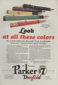 1928 Parker Fountain Pen Print Ad Vintage Color Models Shown 91928AM