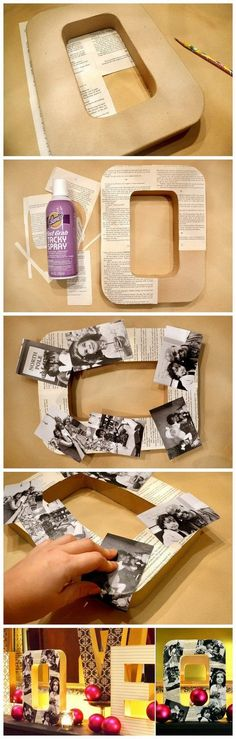 DIY Decorative Photo Letters. Customize the cardboard letters with vintage photos and it will make a strong statement for your home decor! Super…