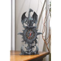 Black Gray Pewter-Like Dragon Clock Medieval Mythology Fantasy Decor