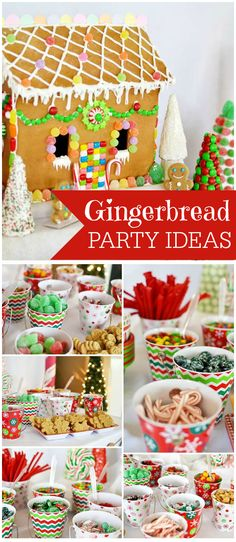A candyland gingerbread house decorating party with a nacho bar, hot cocoa bar and a bounce house! See more party planning ideas at CatchMyParty.com!