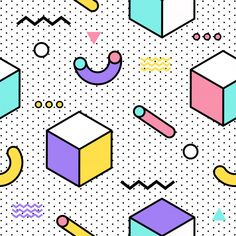 Memphis Seamless Pattern - - Discover thousands of Premium vectors available in AI and EPS formats. Retro Background, Geometric Background, Geometric Shapes, Background Patterns, Memphis Design, Interior Design Trends, 80s Design, Memphis Pattern, Quilting