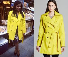 "Mindy's wearing this yellow trench in the season finale ""Danny & Mindy""! DKNY 'Abby' Double-Breasted Trenc..."
