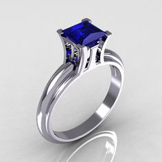 Items similar to Modern Italian White Gold Carat Princess Blue Sapphire Solitaire Ring on Etsy Sapphire Solitaire Ring, Sapphire Jewelry, Solitaire Engagement, Gold Jewelry, Jewelry Rings, Fine Jewelry, Jewelry Tools, Jewellery, Jewelry Design
