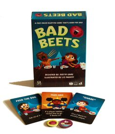 Bad Beets is a two- to five-player bluffing card game by Justin Gary, with art by Liz Nugent. It works for ages 8 and up and plays in about 15 minutes. Bad Beets is published by Stone Blade Ente