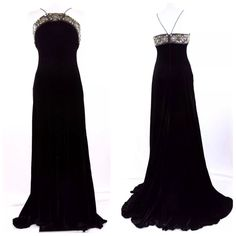 """Badgley Mischka Black Velvet Embellished Gown ‼️‼️ PRICE FIRM ‼️ Black velvet body with silver beading and metal appliques at the top. A stunning short train in the back. 82% rayon, 18% silk, the lining is 100% silk. Do not miss this opportunity to own such a magnificent gown. Photographs can not seems to capture all the details of this beautiful gown. This gown did not quite fit my mannequin so the back is shown unzipped. Hook & eye closure.  Bust 35"""" Waist 28"""" Hips 34"""" Length of…"""