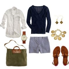 """Navy and Olive"" by bluehydrangea on Polyvore longer walking shorts for me"