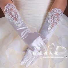 2014 Custom New Wedding Party Fingners Hollow Out Lace Satin Bridal Gloves Below the elbow Bow Wedding Bridal Gloves For Women Accessories