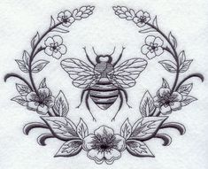 Machine Embroidery Designs at Embroidery Library! - Laurel and Napoleonic Bee Body Art Tattoos, New Tattoos, Tatoos, Celtic Tattoos, Hand Tattoos, Motifs Animal, Hawaiian Tattoo, Bee Art, Bees Knees