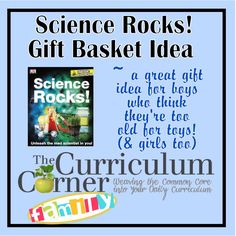 What a great gift idea for boys!  Create a gift basket centered around the book Science Rocks!  Include all of the items needed to complete the experiments.  Our boys are getting this for Christmas!  (girls would love it too!)
