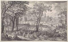 Nicolaes de Bruyn | Feest in de tuin van een paleis, Nicolaes de Bruyn, 1604 | Een tuin met op de achtergrond een groot paleis. In de tuin wordt feest gevierd door een groep hovelingen. Er wordt gegeten, gedanst en muziek gespeeld. Overal zitten verliefde paren. Op de achtergrond wordt een toernooi gehouden op het water.
