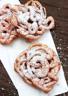 Homemade Funnel Cakes:  Absolutely delicious...quick and easy...I like to make tiny ones, like a big cookie  :-)