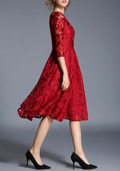 e57a5853bb Red Floral Lace High Waisted 3 4 Sleeve Valentine s Day Homecoming Party  Midi Dress