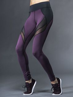 Purple mesh detail yoga pants