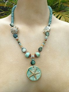 Star of the Sea porcelain necklace and by SheriMalleryHandwork