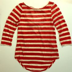 SALE Red & White Striped Open Back Blouse Top Coveted Clothing red and white striped blouse top in excellent brand new condition. No damage. Size medium. Super chic and stylish! Coveted Clothing  Tops Blouses