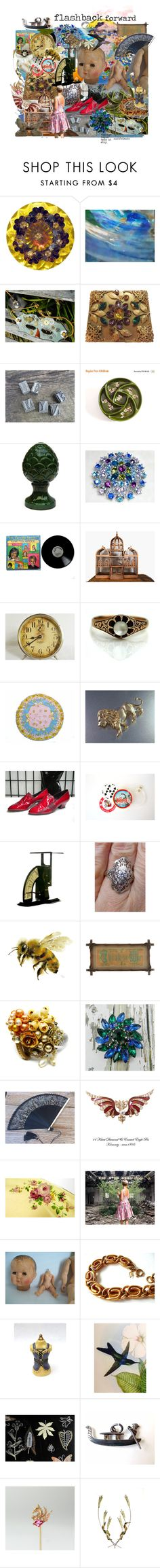 """""""flashback forward"""" by seasidecollectibles ❤ liked on Polyvore featuring Masquerade, Laval, Westclox, Krementz, Laura Ashley, Sarah Coventry, WALL, vintage, art and polyvorestyle"""