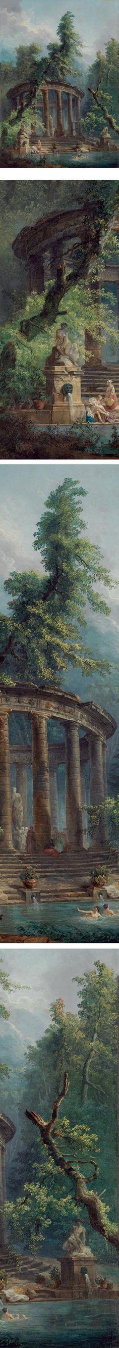Le bassin aux baigneuses - Hubert Robert Robert, Hubert (1733-1808) entre 1777 et 1784 - Peinture sur toile Dimensions :  Hauteur 174,  Largeur 123, cm New York, The Metropolitan Museum of Art