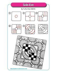 Side-Eye Tangle, Zentangle Pattern by Yu Ru Chen Op Art, Zantangle Art, Zentangle Drawings, Doodles Zentangles, Doodle Drawings, Flower Drawings, Tangle Doodle, Zen Doodle, Doodle Art