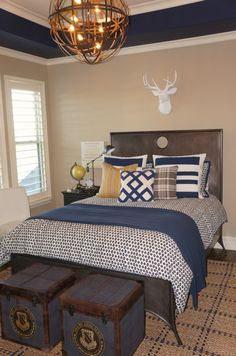 Boy's Room Navy Paint & Accents. blue nest design