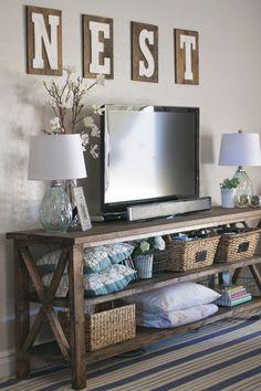 DIY farmhouse console &a peek into our family room. | Paddington Way.